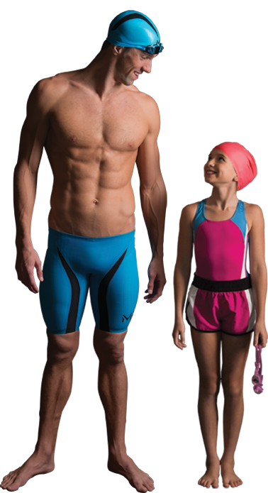 Michael Phelps Standing Next to Young Girl