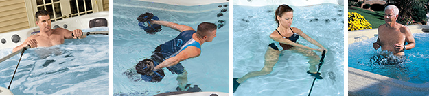 A variety of fitness exercises is possible with the Michael Phelps Swim Spa by Master Spas.