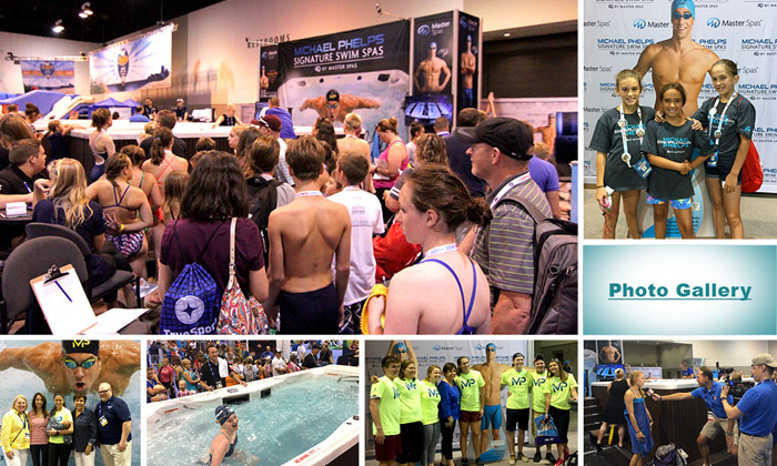 Swimmers line up to take the Michael Phelps Swim Spa Challenge at the Aqua Zone in Omaha